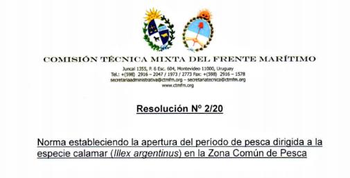 Habilitada la pesca de la especie calamar (illex argentinus)